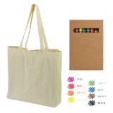 Colouring Calico Bag with Gusset & Crayons