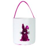 Pink Laminated Canvas Easter Bunny Sequence Bag –  One ear up one ear down