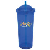 DOUBLE INSULATED ACRYLIC WATER BOTTLE WITH STRAW 472ML (BLUE & RED)