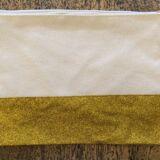 Canvas Glitter Panel Makeup Bag