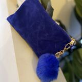 Blue Velvet Cosmetic Bag with POM POM
